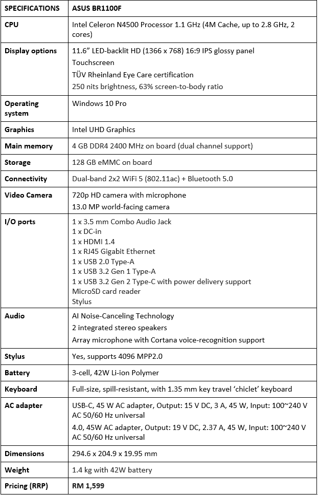 ASUS BR1100F Laptop Product Specifications