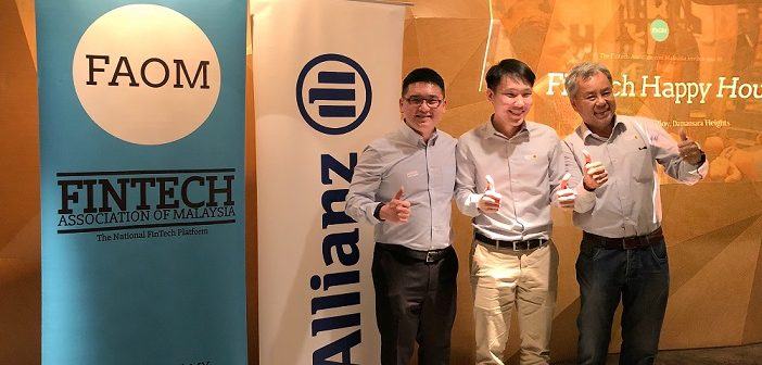 (Left to Right) Michael Fong, the Head of Digital Partnerships and Innovation for Allianz General Insurance Company (Malaysia) Berhad, Wilson Beh Treasurer of FinTech Association of Malaysia (FAOM) and David Fong President of FAOM during the networking session at Ploy on 8 March 2018.